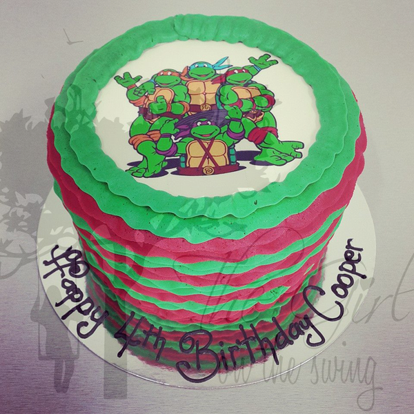 TMNT Frill cake with Edible Image