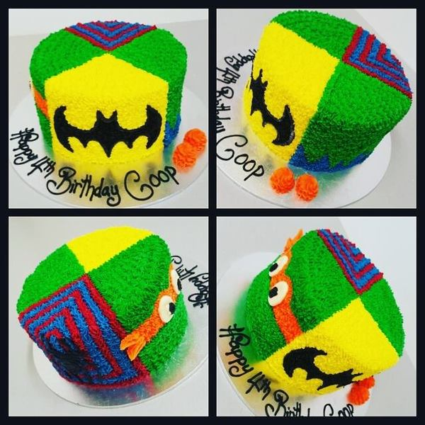 TMNT Spiderman Batman and Hulk Cake