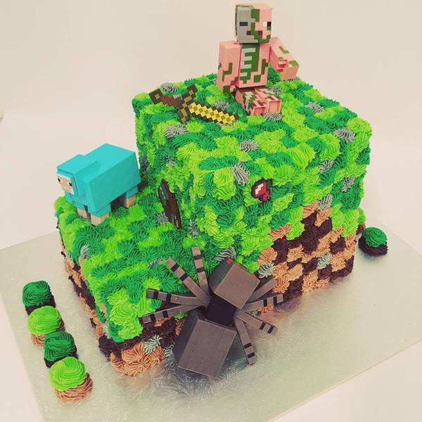 Two Tier Minecraft Cake