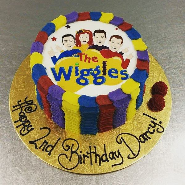 Multi Coloured Ruffle Wiggles Cake (with edible image)